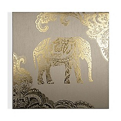 Graham & Brown - Golden henna elephant printed fabric canvas