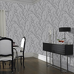 Boutique - Charcoal water silk sprig wallpaper