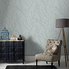 Boutique - Teal water silk sprig wallpaper
