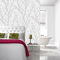 Boutique - Light silver water silk sprig wallpaper