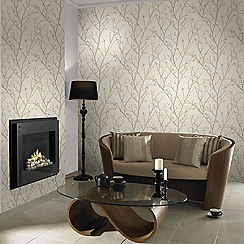Boutique - Ivory water silk sprig wallpaper
