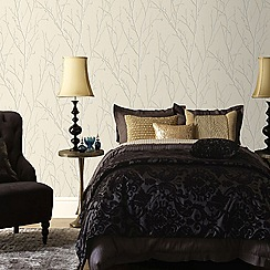 Boutique - Taupe water silk sprig wallpaper