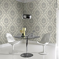 Boutique - Light silver corsetto damask wallpaper