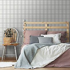 Superfresco Easy - Silver country Tartan checkered wallpaper