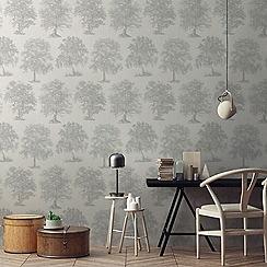 Superfresco Easy - Silver enchanted tree wallpaper