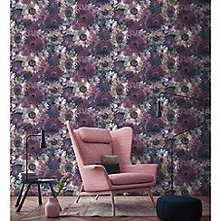 Superfresco Easy - Purple midnight garden floral wallpaper