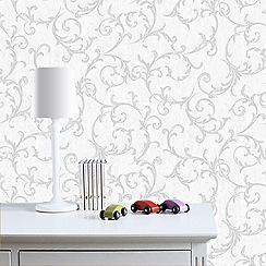 Superfresco Easy - Silver empress scroll wallpaper