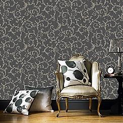 Superfresco Easy - Black & gold empress scroll wallpaper