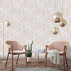 Boutique - Rose gold palm springs floral trail wallpaper