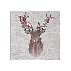 Art for the Home - Floral stag printed canvas