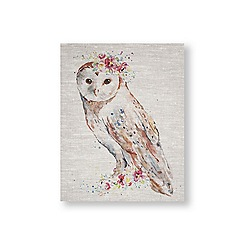 Art for the Home - Floral owl printed canvas
