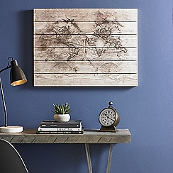 Art for the Home - Wood world map print on wood