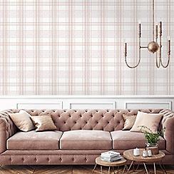 Superfresco Easy - Rose pink country Tartan checkered wallpaper