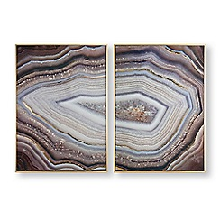 Art for the Home - Set of 2 glamorous gems framed wall art