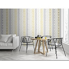 Sublime - Yellow and grey Summertime floral wallpaper