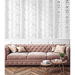 Sublime - Grey and white Summertime floral wallpaper