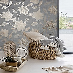 Superfresco - Grey Fiorella Suede Textured Floral Wallpaper