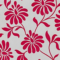 Graham & Brown - Hollywood cerise Ophelia flock wallpaper