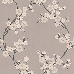 Superfresco - Taupe & Charcoal Cherry Blossom Wallpaper