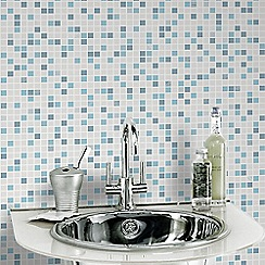 Contour - Blue and White Checker Tile Effect Kitchen & Bathroom Wallpaper