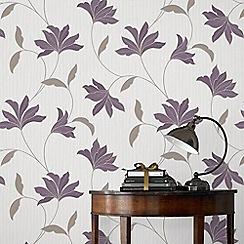 Superfresco - Plum & Silver Alannah Wallpaper