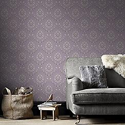 Boutique - Purple & Cream Jacquard Wallpaper