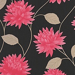 Superfresco Easy - Black & Pink Romance Wallpaper