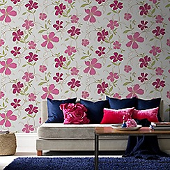 Superfresco Easy - Raspberry Rapture Floral Wallpaper