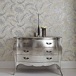 Julien Macdonald - White & Silver Gilded Feather Wallpaper