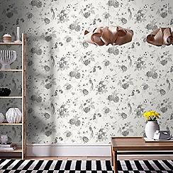 Julien Macdonald - White & Silver Exotica Birds & Floral Wallpaper