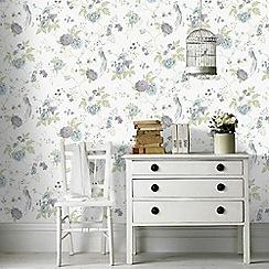 Julien Macdonald - Duck Egg & Lilac  Exotica Birds & Floral Wallpaper