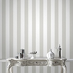 Julien Macdonald - White & Silver Glitterati Striped Wallpaper
