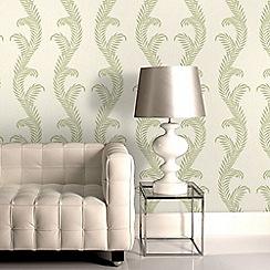 Julien Macdonald - Cream & Green Venus Damask Wallpaper