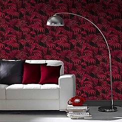 Julien Macdonald - Black & Fuchsia Honolulu Palm Leaf Wallpaper