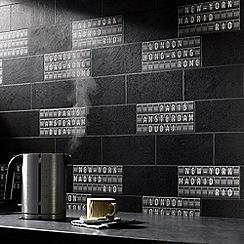 Superfresco Easy - Black & White Airport Tile Wallpaper