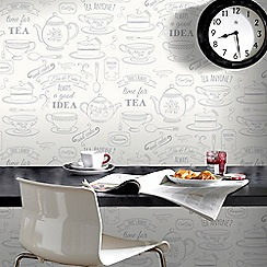 Superfresco Easy - White & Silver Afternoon Tea Motif Wallpaper