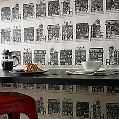 Superfresco Easy - Black & White Graphic Print High Street Wallpaper