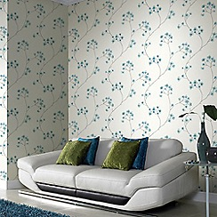 Superfresco Easy - Teal & White Radiance Delicate Floral Wallpaper