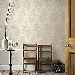 Graham & Brown - Cream Quill Leaf Print Wallpaper