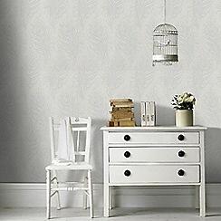 Graham & Brown - Light Grey Quill Leaf Print Wallpaper