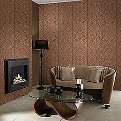 Graham & Brown - Copper Gloriana Damask Wallpaper
