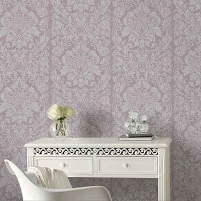 Graham brown light purple gloriana damask wallpaper debenhams