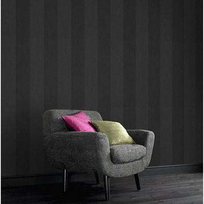 Boutique Dark Grey Artisan Stripe Wallpaper Debenhams