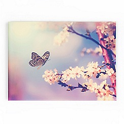 Art for the Home - Pink butterfly branch canvas wallart