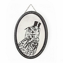 Graham & Brown - Black Oswald Owl Printed Canvas