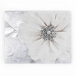 Graham & Brown - White Grey Bloom Printed Canvas