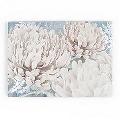 Graham & Brown - Beige Teal Bloom Printed Canvas