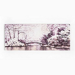 Art for the Home - Watercolour forest bridge landscape printed canvas wall art