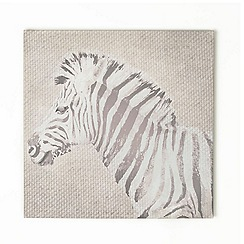 Graham & Brown - Stripes Zebra Animal Neutral Tones Linen Textured Printed Canvas Wall Art