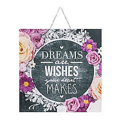 Graham & Brown - Dreams & wishes inspirational quote chalkboard printed canvas wall art